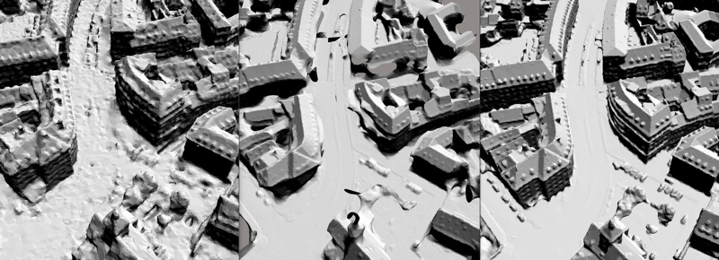 An example of ContextCapture photo planning leveraging existing 3D map data for the aerial data acquisition mission. Image courtesy of Bentley Systems