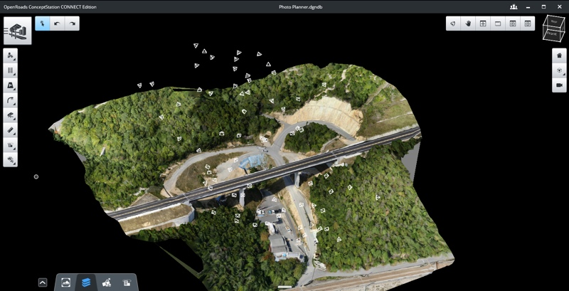 ContextCapture photo planning illustrating computed shots for optimal proposed path-to-flight planning applications. Image courtesy of Bentley Systems