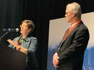 Port of Seattle managing directors Stephanie Jones Stebbins and David McFadden talk about the port's expansion plans at Pacific Marine Expo. Kirk Moore photo.