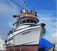 The Imperial on blocks after recovery. Coast Guard photo.
