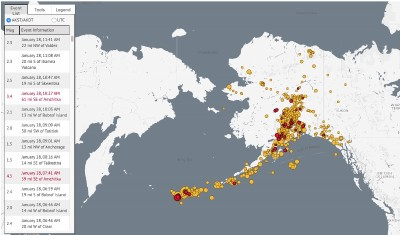 A graphic map showing recent earthquakes across the state. Alaska Earthquake Center image.