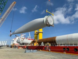 Turbine components were loaded at the Danish port of Esbjerg for the two-week voyage to Halifax. Dominion Energy photo.