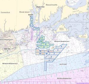 Survey work is ongoing around the Bay State Wind, Revolution Wind and Sunrise Wind project sites near Martha's Vineyard. Ørsted notice to mariners image.