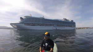 Brent Allen near a Monterey Bay cruise ship. Brent Allen photo.