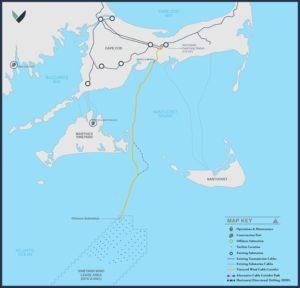 Vineyard Wind is an 800-megawatt offshore wind turbine array planned south of Martha's Vineyard, Mass. Vineyard Wind image.