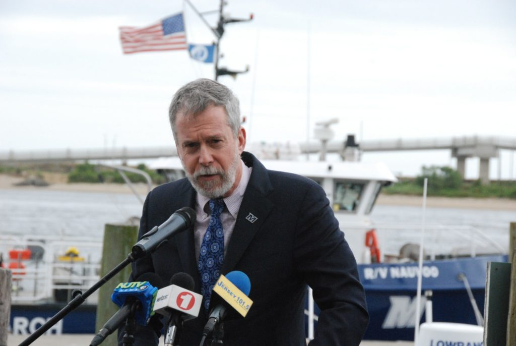 The renewed Nauvoo will extend the Monmouth University marine program out to 20 miles offshore, said university president Grey Dimenna. Kirk Moore photo.