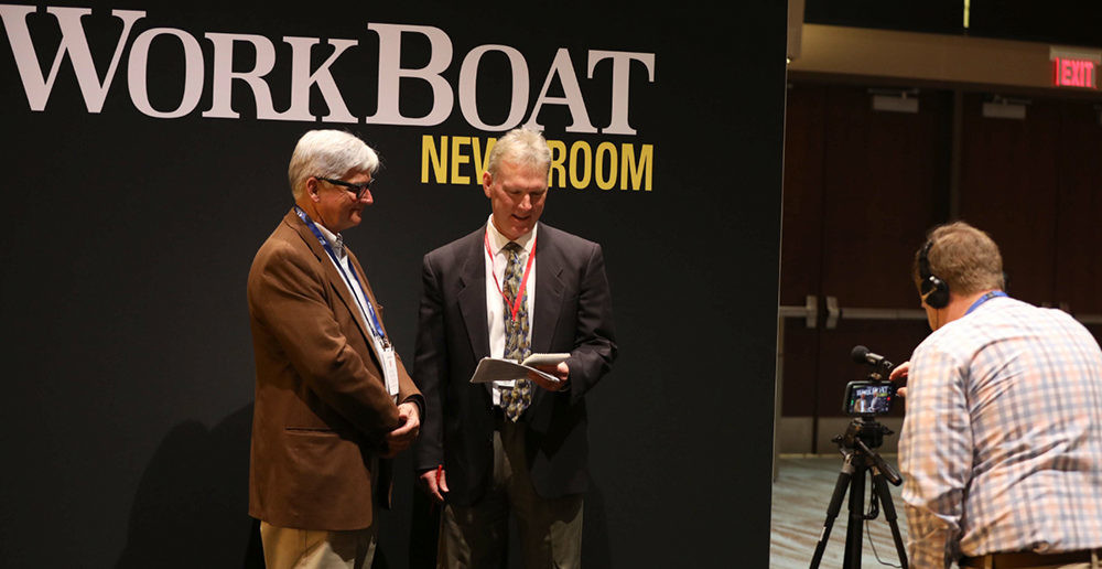 Editor-in-Chief Dave Krapf in the newsroom at the International WorkBoat show