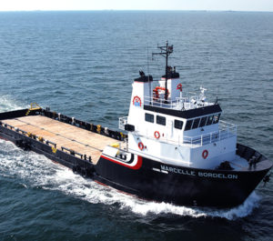 The Marcelle Bordelon is one of two OSVs carrying out a survey for the Coastal Virginia Offshore Wind project. Bordelon Marine photo.